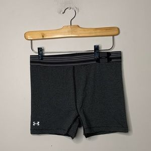 Under Armour Womens S Fitted Shorts Gray Stripes